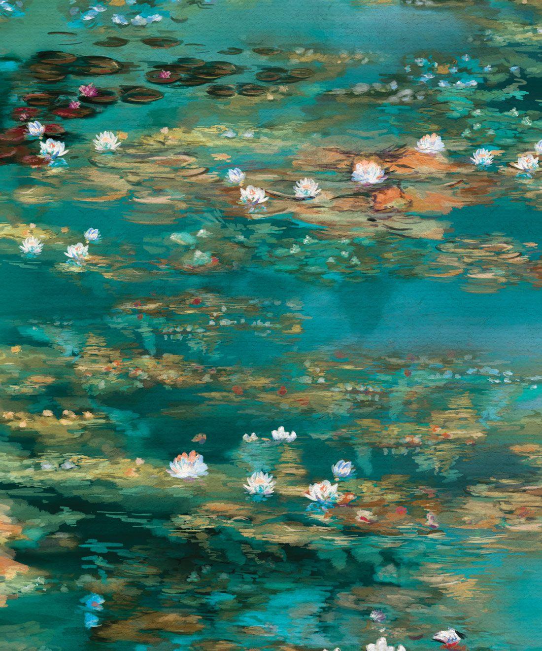 Water Lillies Wallpaper •Abstract Wallpaper • Dreamy Wallpaper • Teal Wallpaper •Swatch
