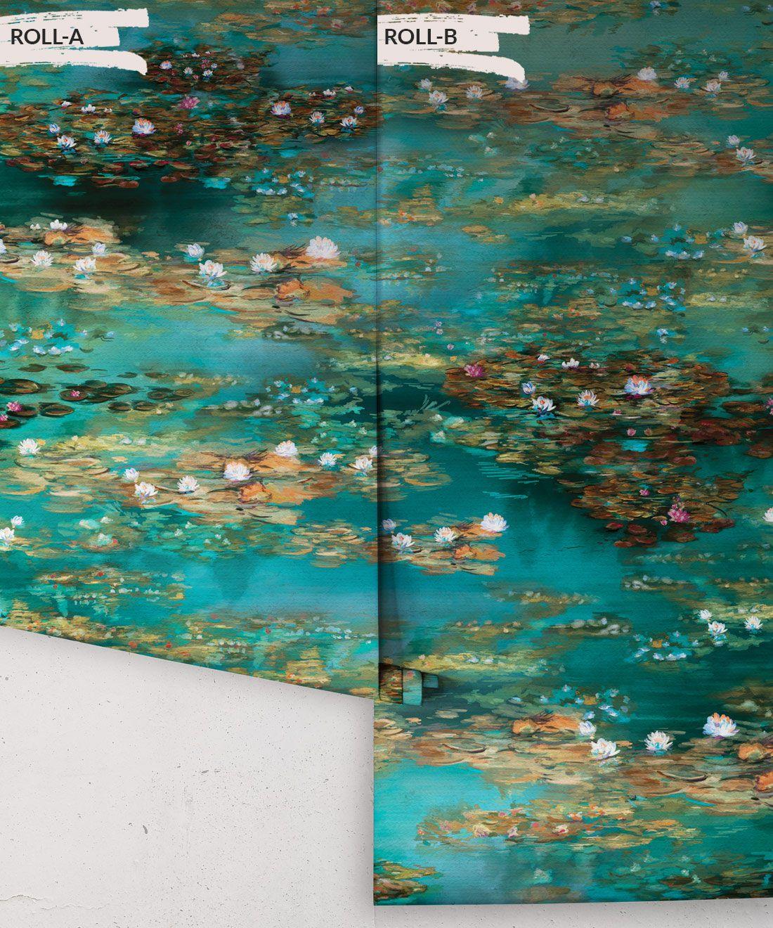 Water Lillies Wallpaper •Abstract Wallpaper • Dreamy Wallpaper • Teal Wallpaper •Rolls