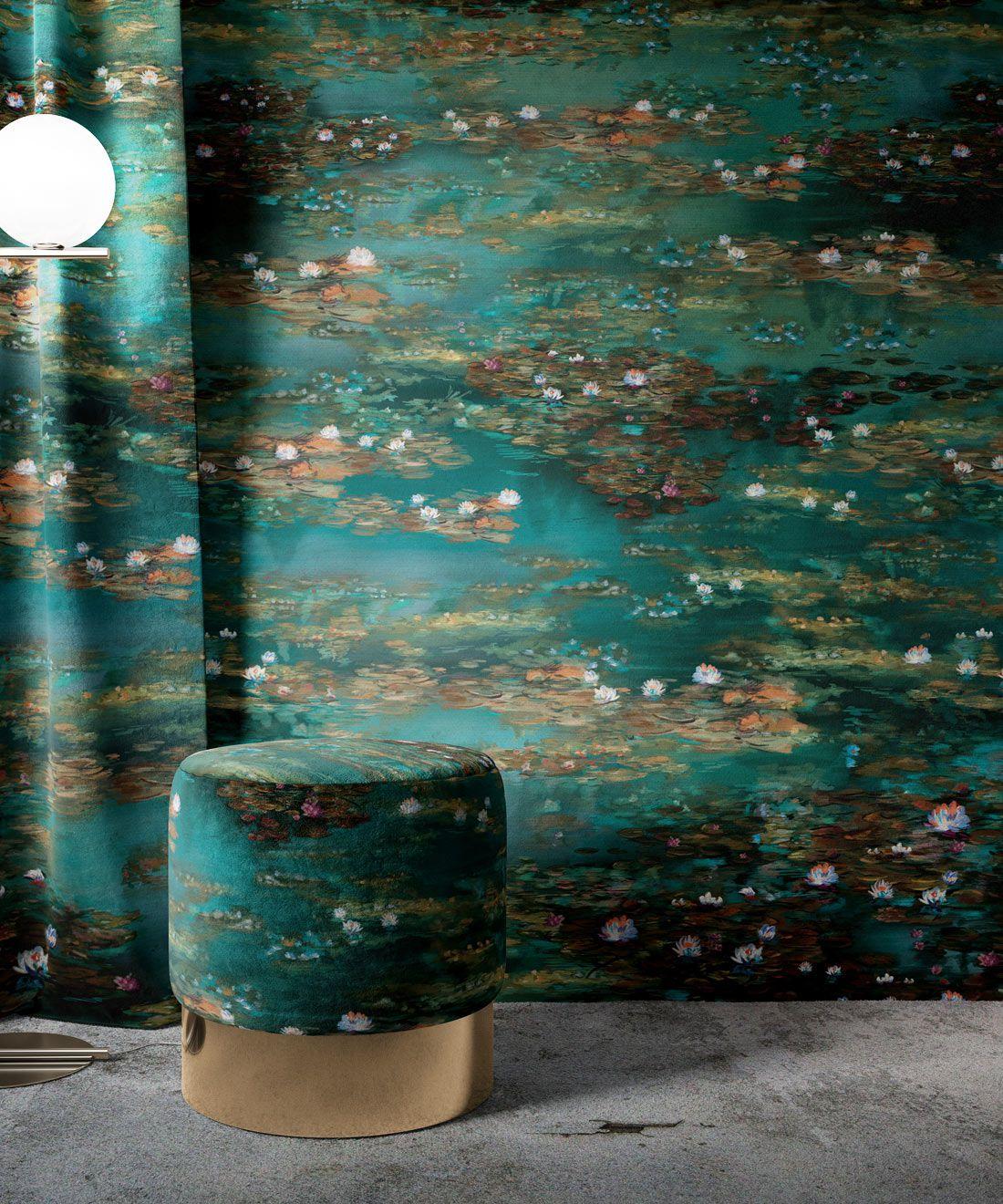 Water Lillies Wallpaper •Abstract Wallpaper • Dreamy Wallpaper • Teal Wallpaper •Insitu