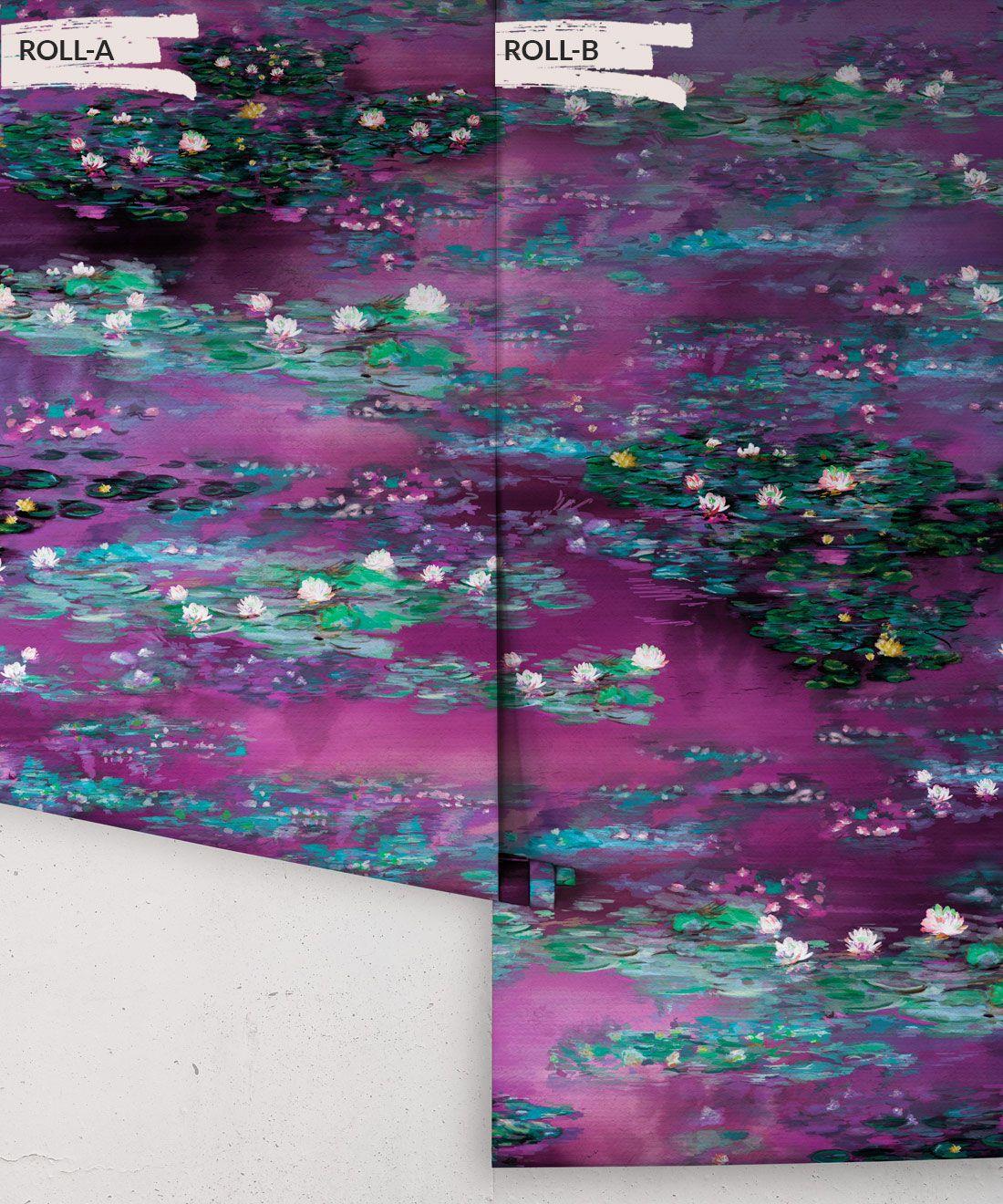 Water Lillies Wallpaper •Abstract Wallpaper • Dreamy Wallpaper • Violeta Wallpaper •Rolls