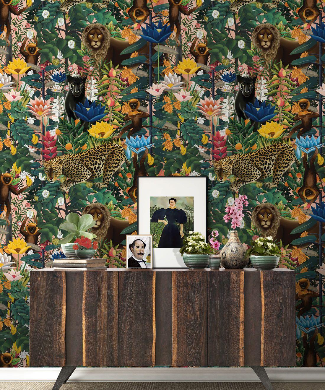 The Jungle Wallpaper • Animal Wallpaper • Botanical Wallpaper • Coral Wallpaper • Insitu
