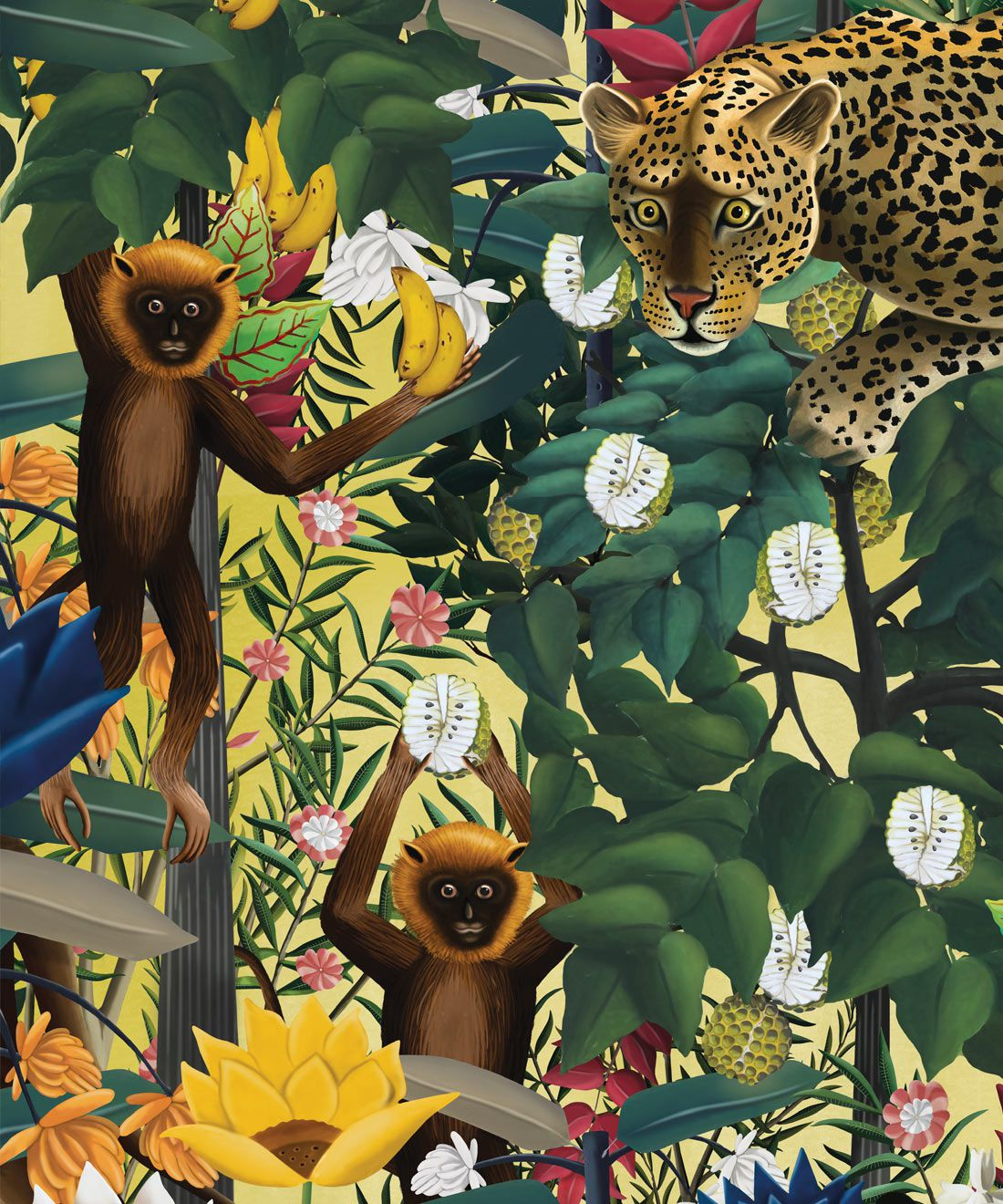 The Jungle Wallpaper • Animal Wallpaper • Botanical Wallpaper • Hazelwood Wallpaper • Swatch