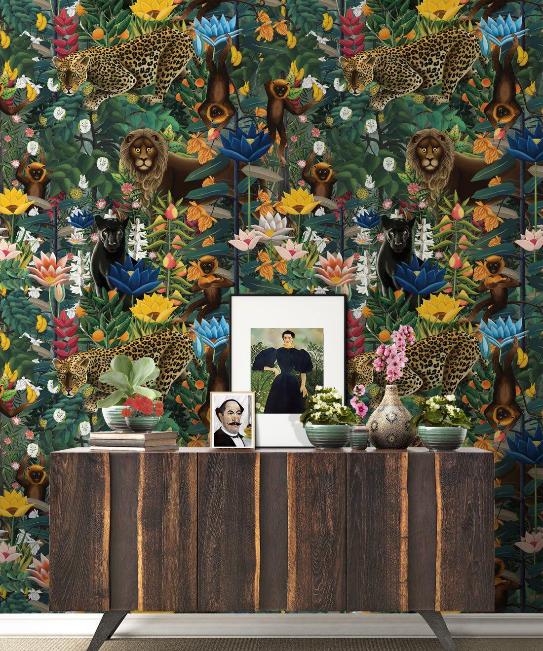 The Jungle Wallpaper • Animal Wallpaper • Botanical Wallpaper • Night Wallpaper • Insitu
