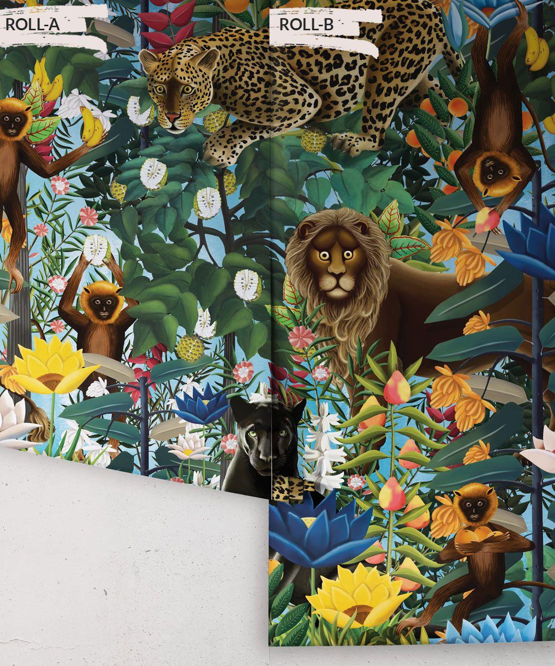 The Jungle Wallpaper • Animal Wallpaper • Botanical Wallpaper • Sky Wallpaper • Rolls