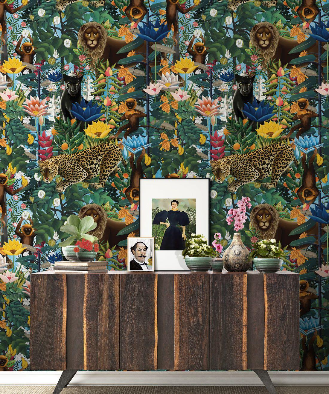 The Jungle Wallpaper • Animal Wallpaper • Botanical Wallpaper • Sky Wallpaper • Insitu