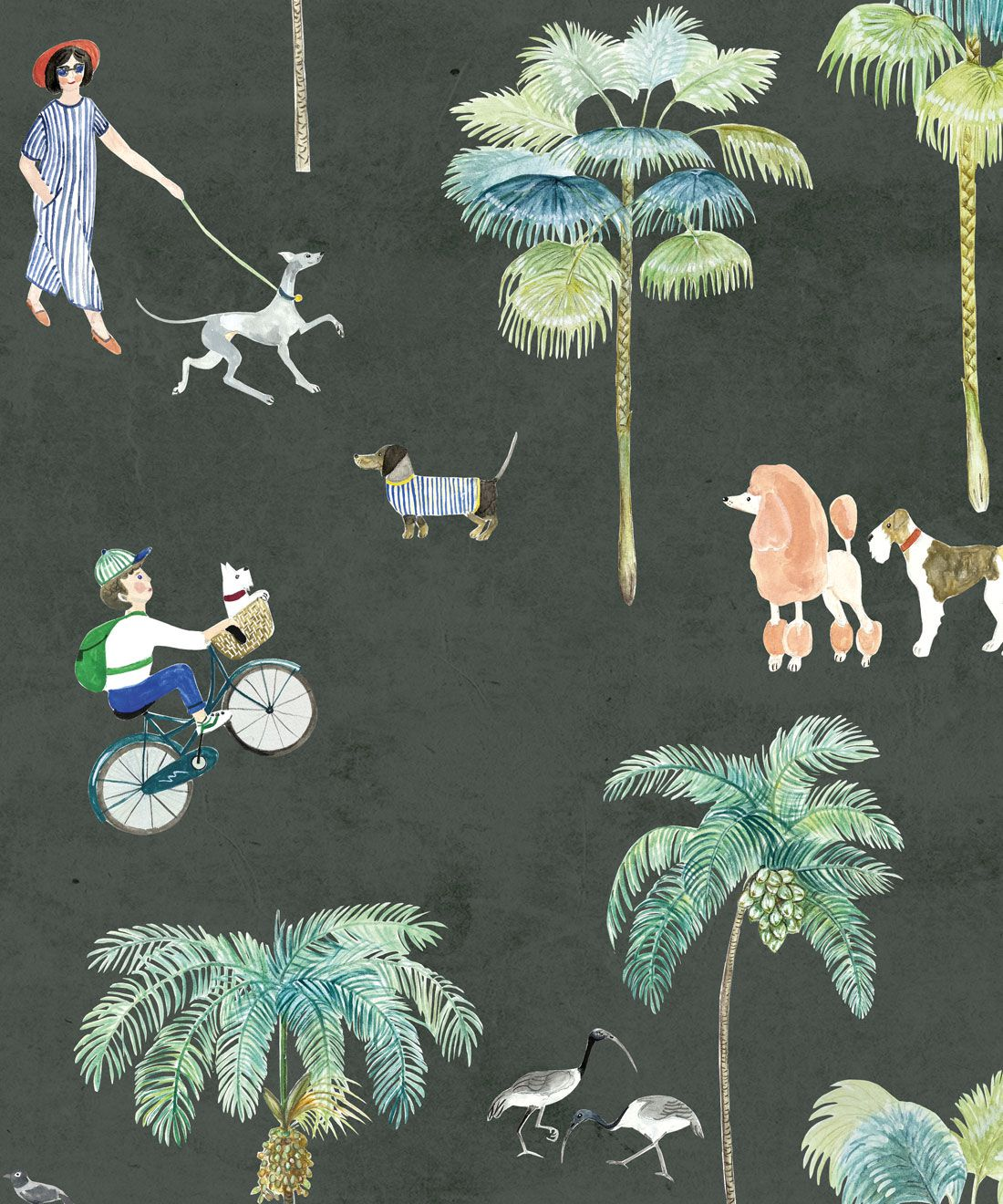 At The Dog Park Wallpaper • Kids Wallpaper • Charcoal • Swatch