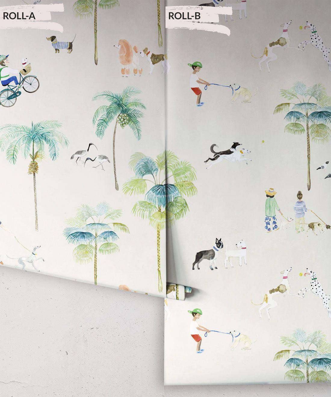 At The Dog Park Wallpaper •Kids Wallpaper • Cream • Rolls