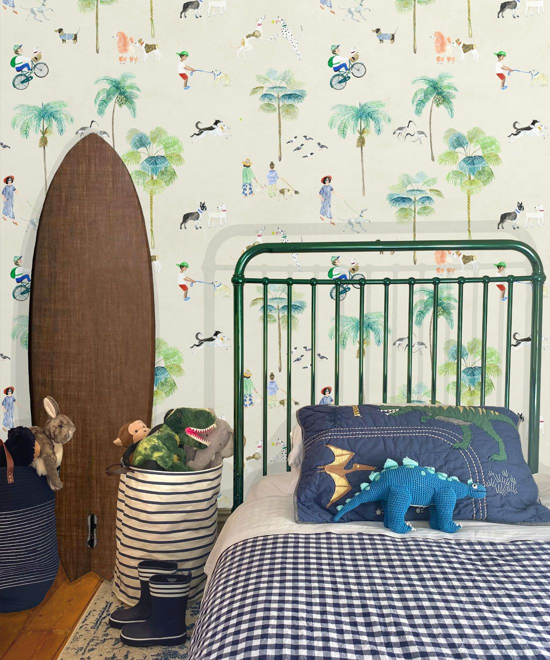 At The Dog Park Wallpaper •Kids Wallpaper • Cream • Insitu