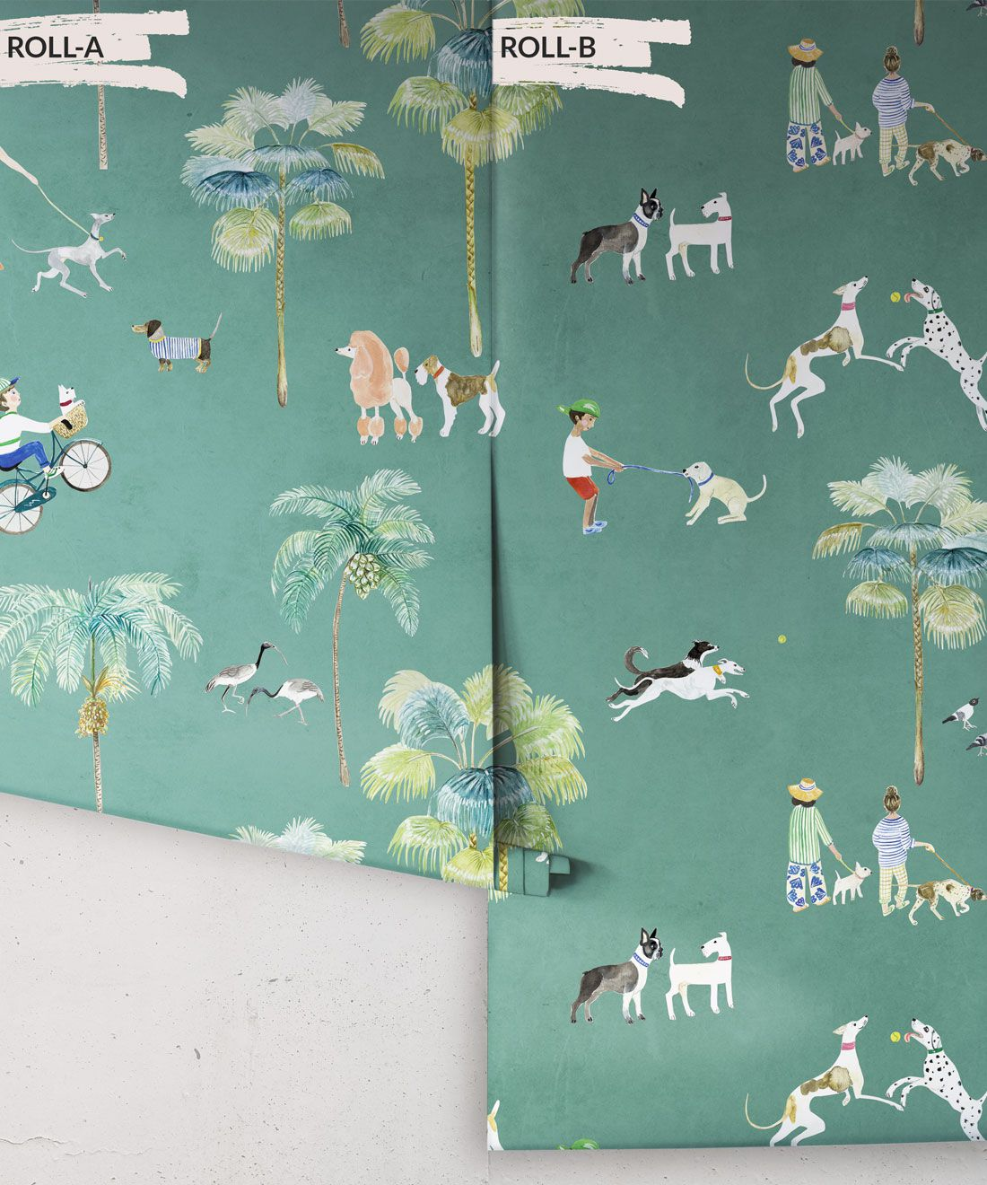 At The Dog Park Wallpaper • Kids Wallpaper • Turquoise • Rolls