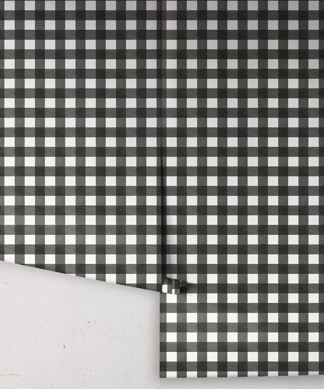 Check Wallpaper • Charcoal •Rolls
