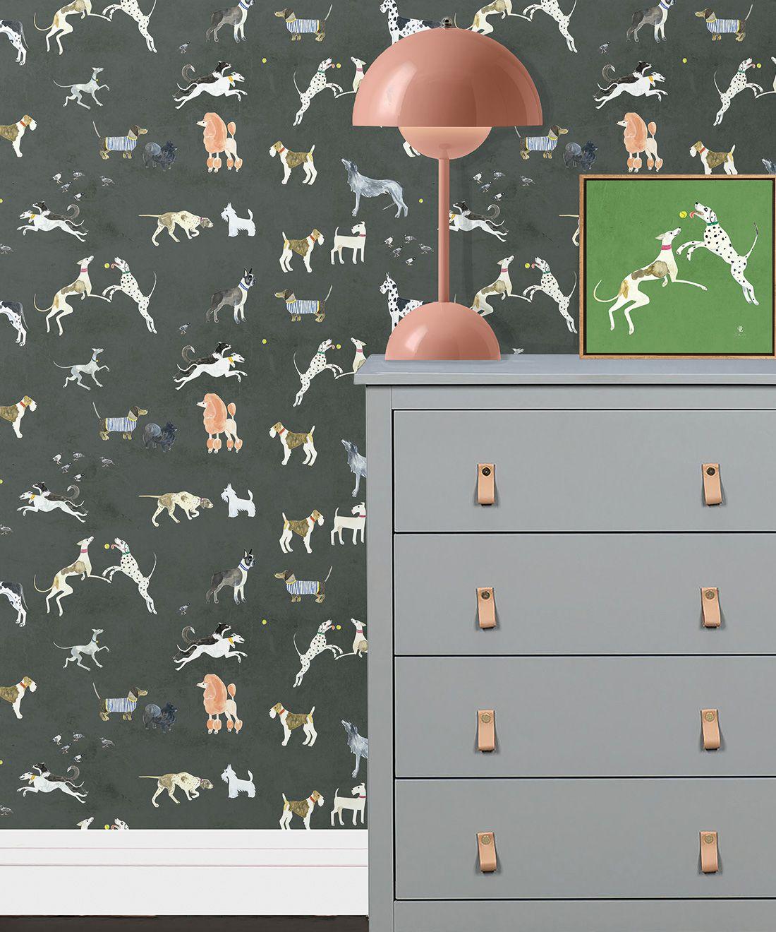 Doggies Wallpaper •Dog Wallpaper •Charcoal • Insitu with Lamp