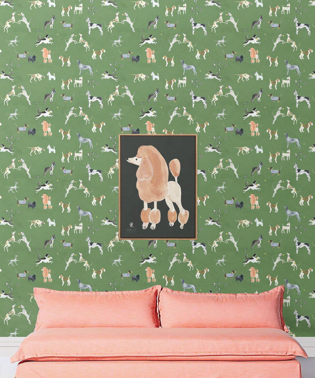 Doggies Wallpaper •Dog Wallpaper •Green • insitu with sofa