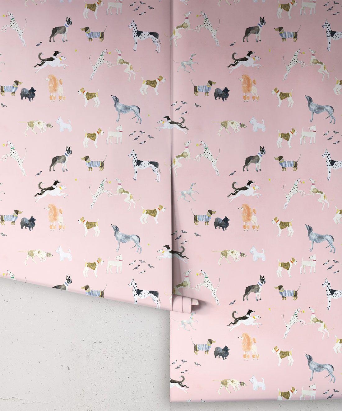 Doggies Wallpaper •Dog Wallpaper •Pink • Rolls