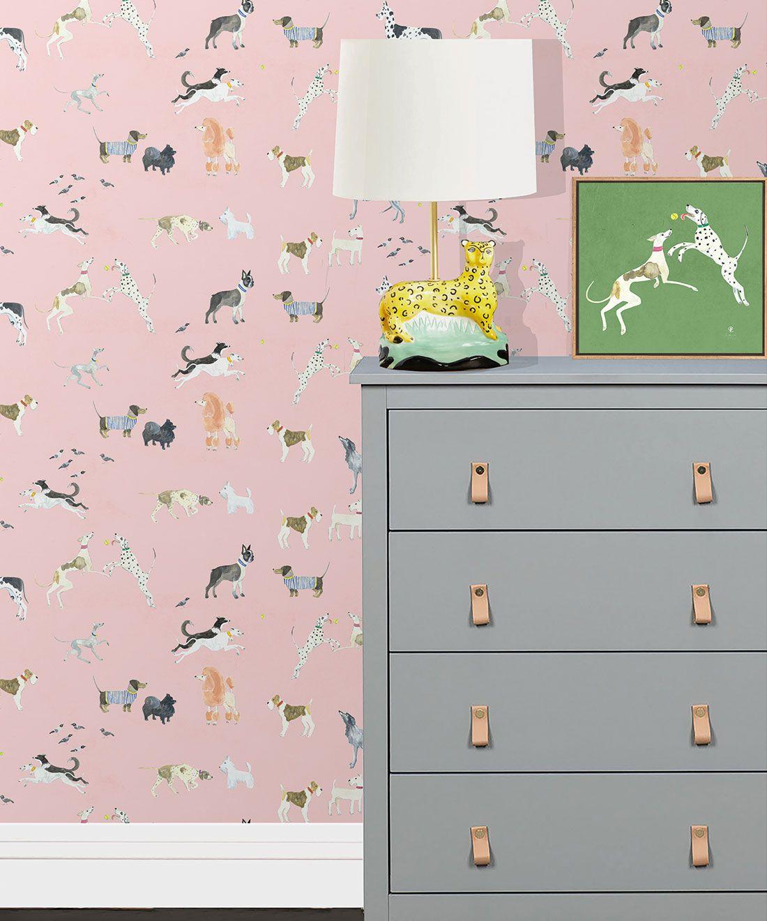 Doggies Wallpaper •Dog Wallpaper •Pink • Insitu with lamp on dresser