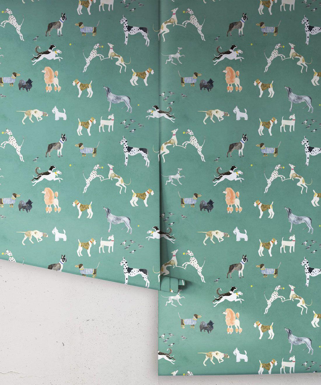 Doggies Wallpaper •Dog Wallpaper •Turquoise • Rolls