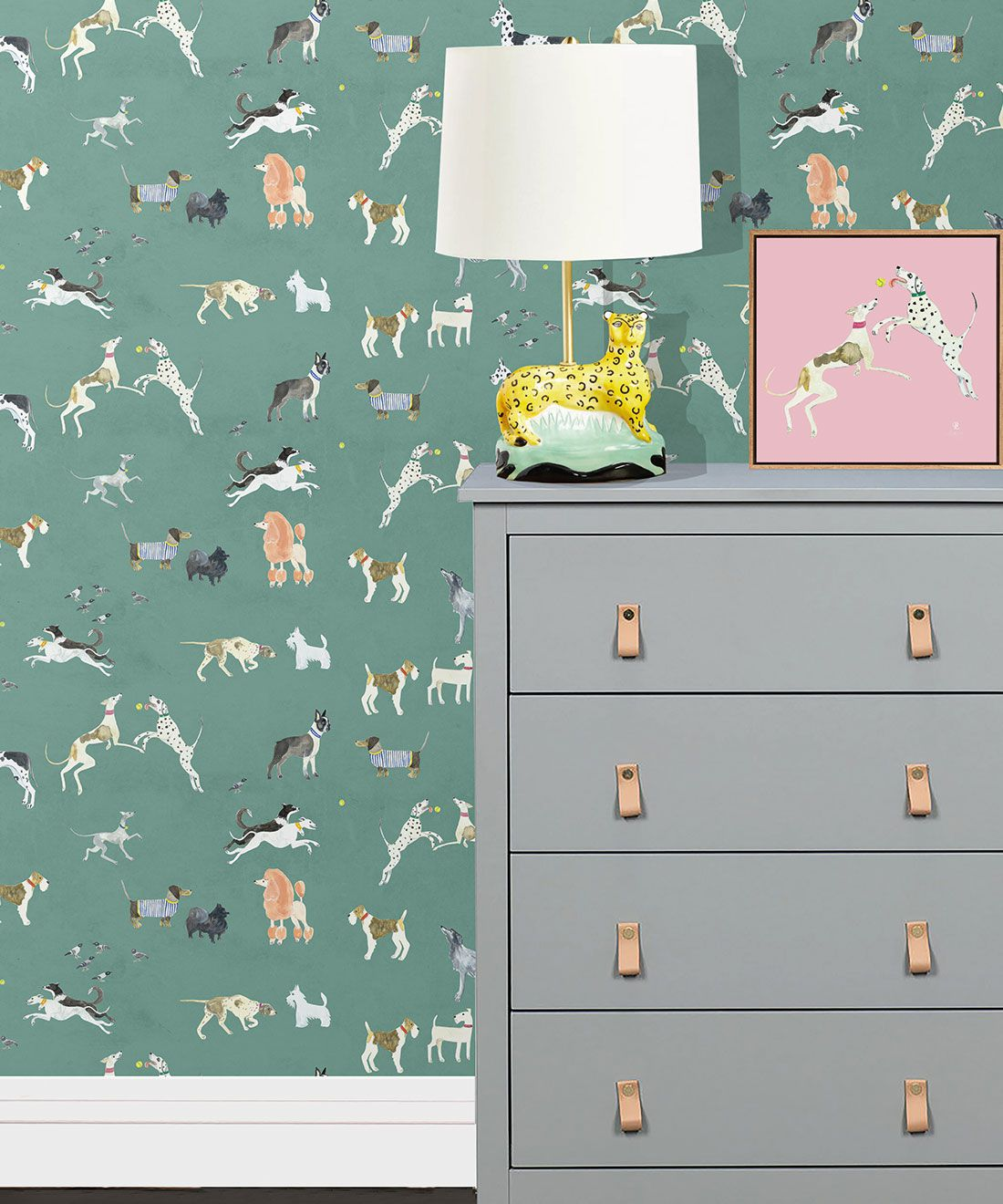 Doggies Wallpaper •Dog Wallpaper •Turquoise • Insitu with lamp on dresser