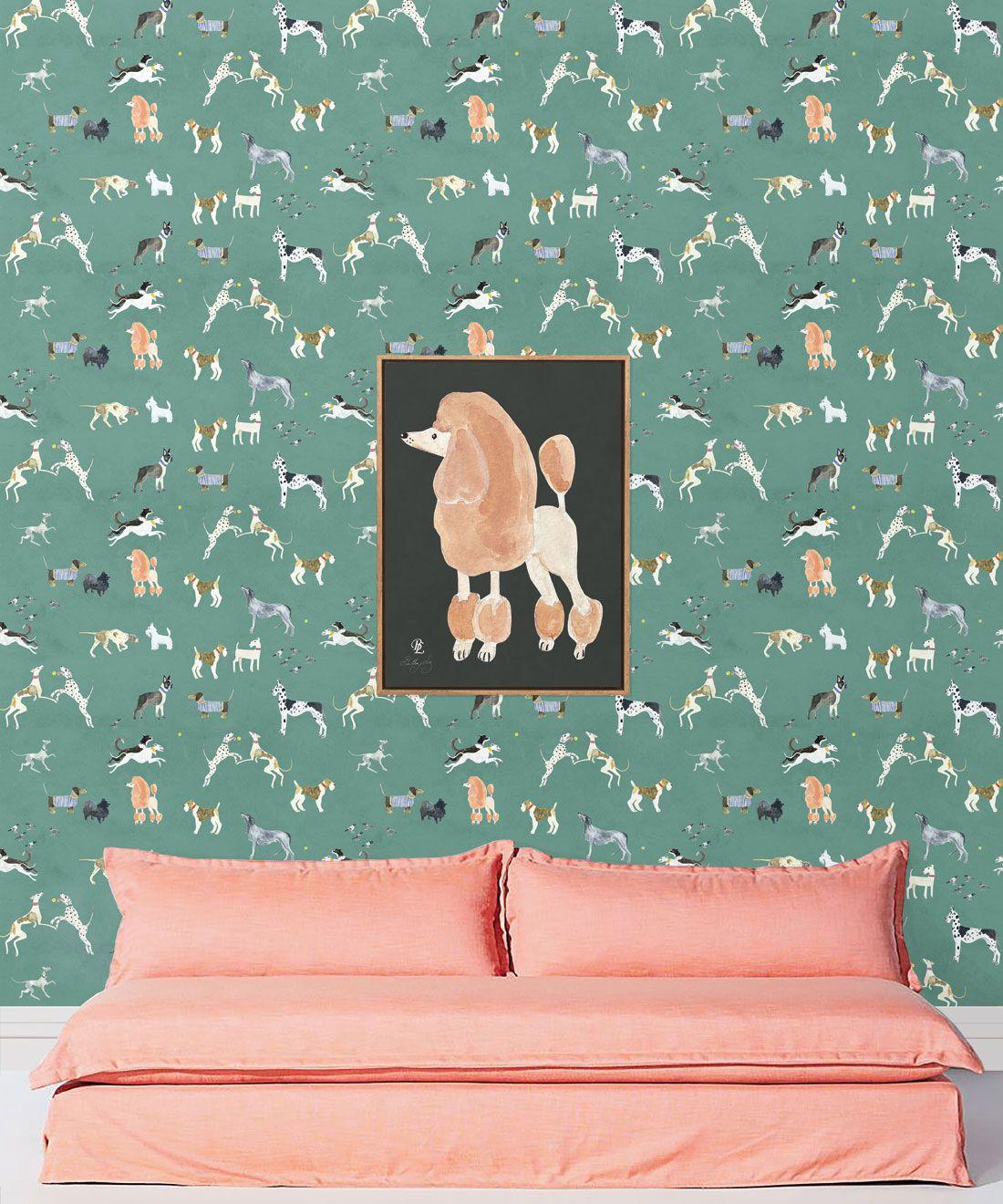 Doggies Wallpaper •Dog Wallpaper •Turquoise • Insitu with sofa