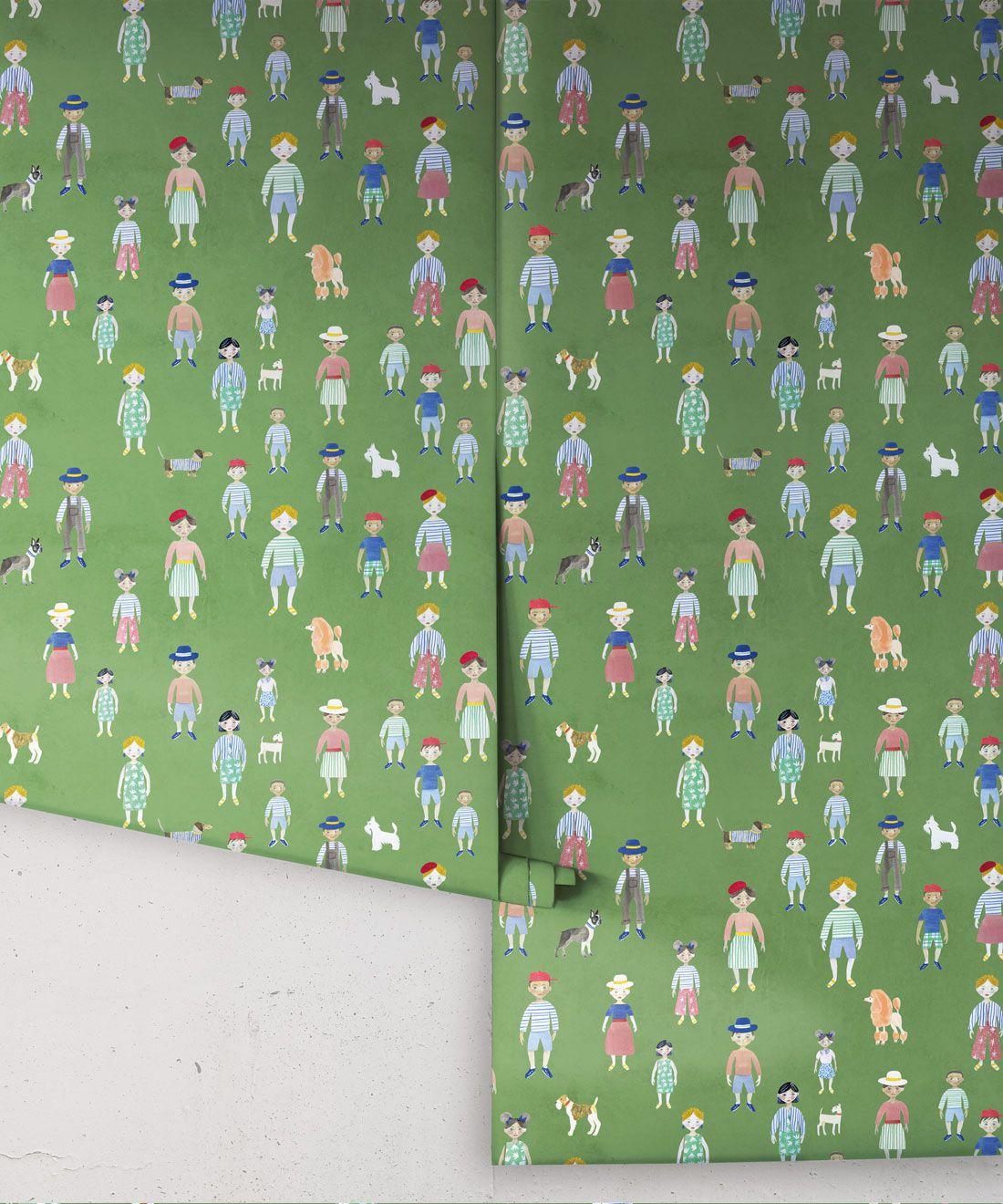 Paper Dolls wallpaper • Green • Rolls