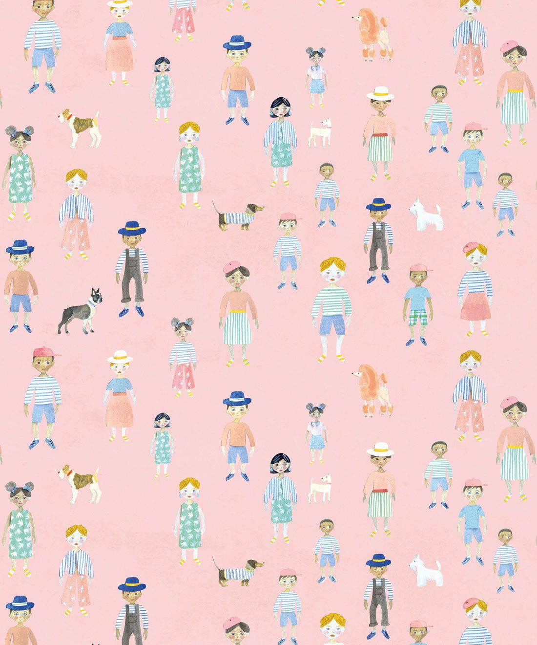Paper Dolls wallpaper • Pink • Swatch