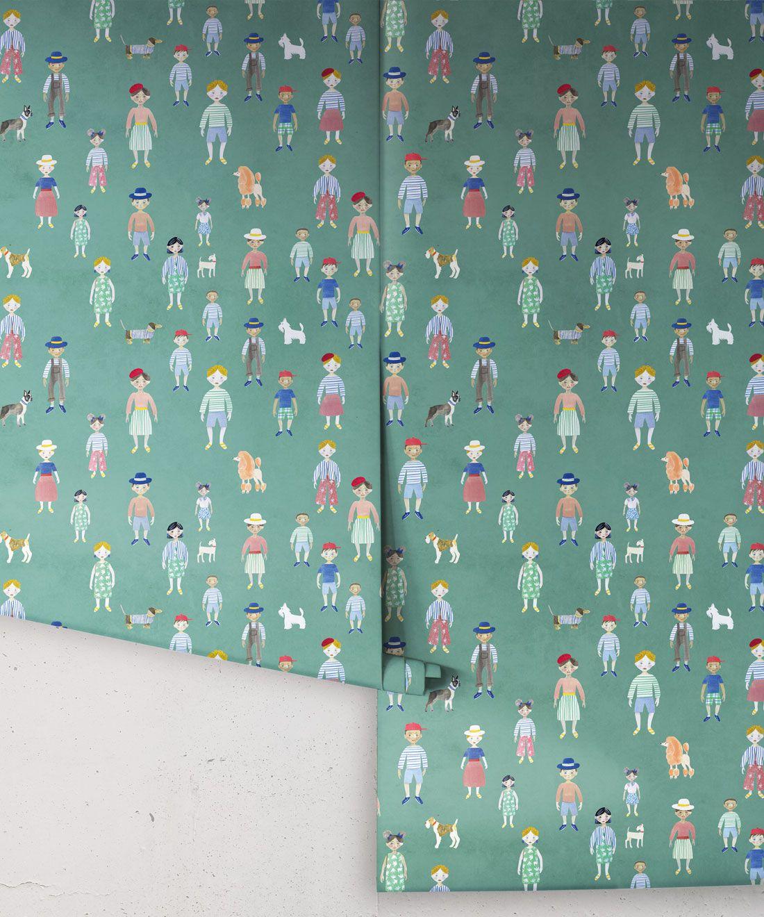 Paper Dolls wallpaper • Turquoise • Rolls