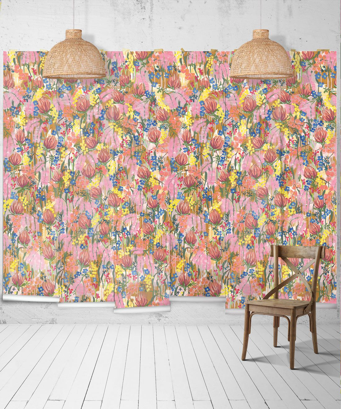 Acacia Wallpaper •Colourful Floral Wallpaper • Tiff Manuell • Abstract Expressionist Wallpaper • Wide Insitu