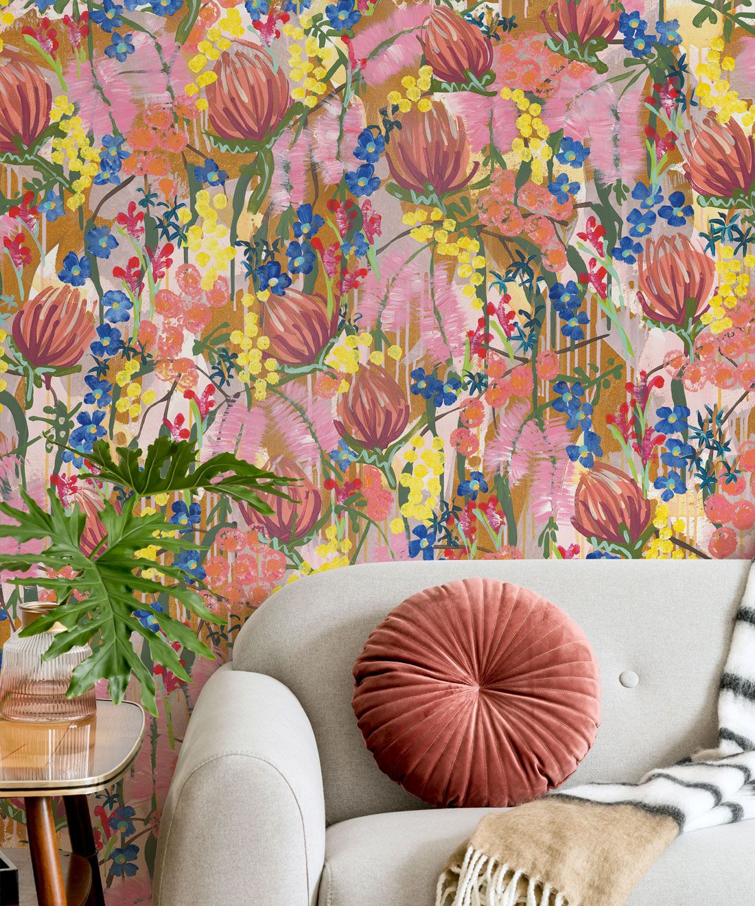 Acacia Wallpaper •Colourful Floral Wallpaper • Tiff Manuell • Abstract Expressionist Wallpaper • Close Up Insitu