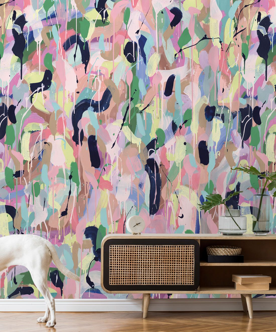 Between Tides Wallpaper •Colourful Painterly Wallpaper • Tiff Manuell • Abstract Expressionist Wallpaper • Close Up Insitu