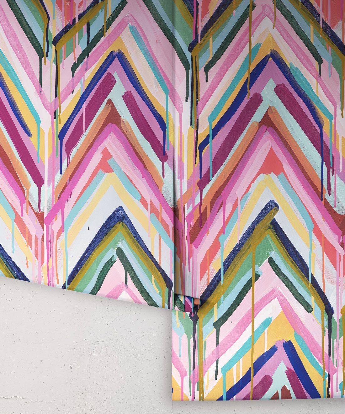 Crossroads Wallpaper •Colourful Painterly Wallpaper • Tiff Manuell • Chevron Wallpaper • Rolls