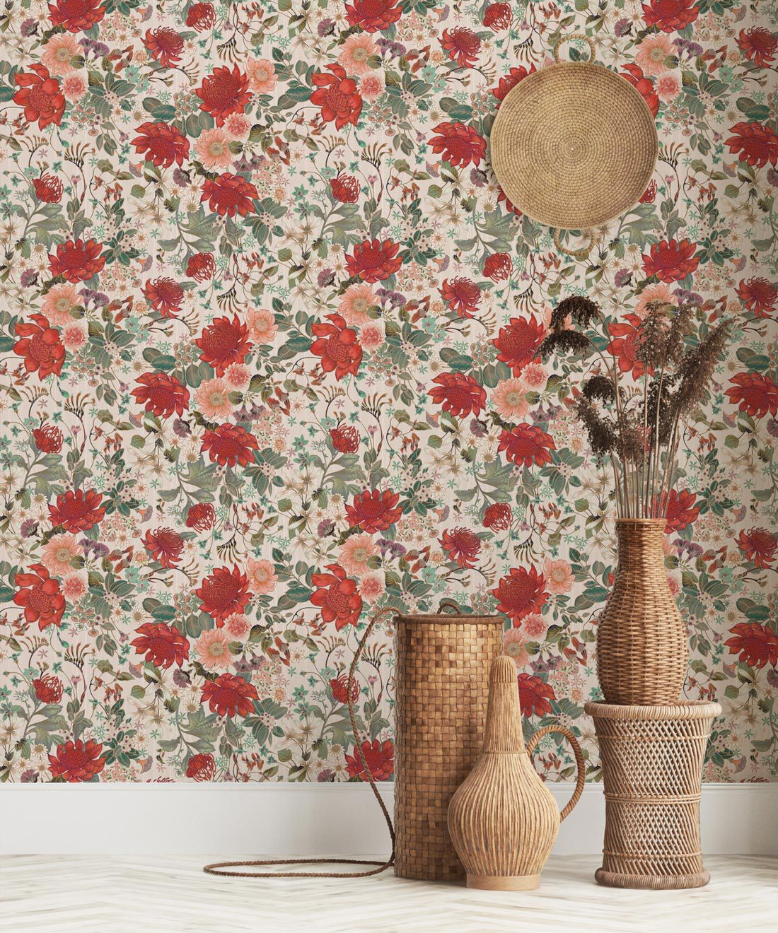 Bouquet Wallpaper • Eloise Short • Vintage Floral Wallpaper •Granny Chic Wallpaper • Grandmillennial Style Wallpaper •Alabaster •Insitu