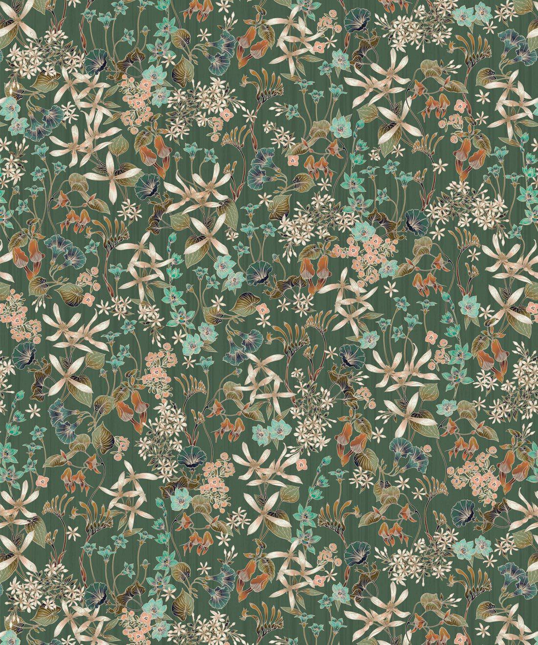 County Flowers Wallpaper • Eloise Short • Vintage Floral Wallpaper •Granny Chic Wallpaper • Grandmillennial Style Wallpaper •Avocado •Swatch