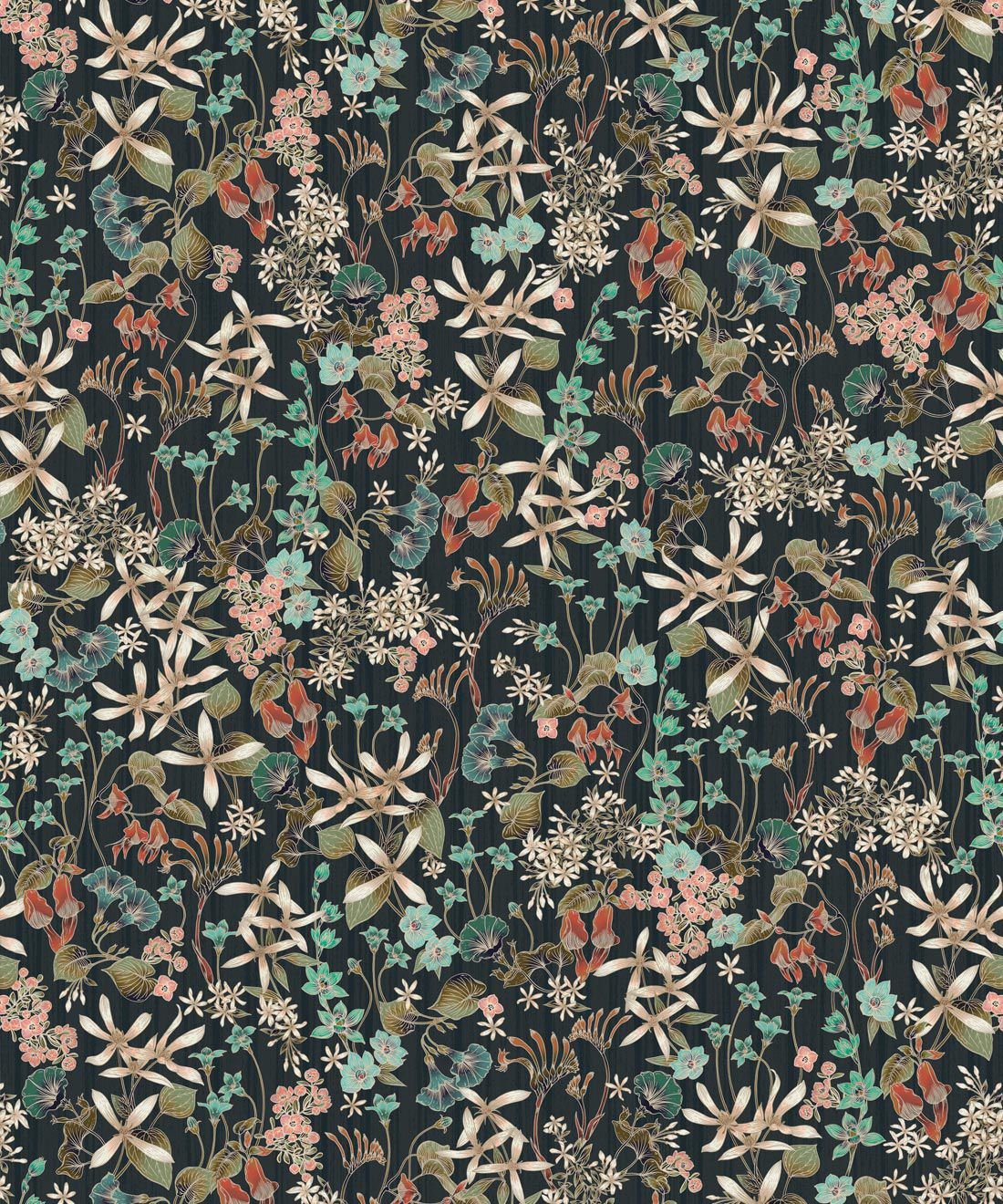 County Flowers Wallpaper • Eloise Short • Vintage Floral Wallpaper •Granny Chic Wallpaper • Grandmillennial Style Wallpaper •Charcoal •Swatch