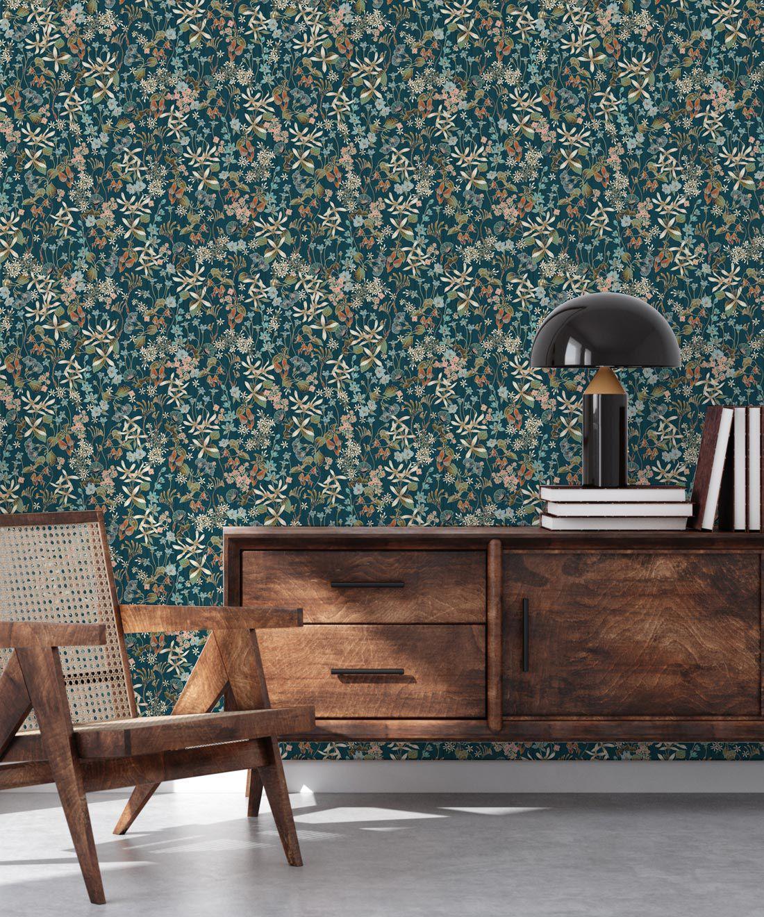 County Flowers Wallpaper • Eloise Short • Vintage Floral Wallpaper •Granny Chic Wallpaper • Grandmillennial Style Wallpaper •Peacock •Insitu