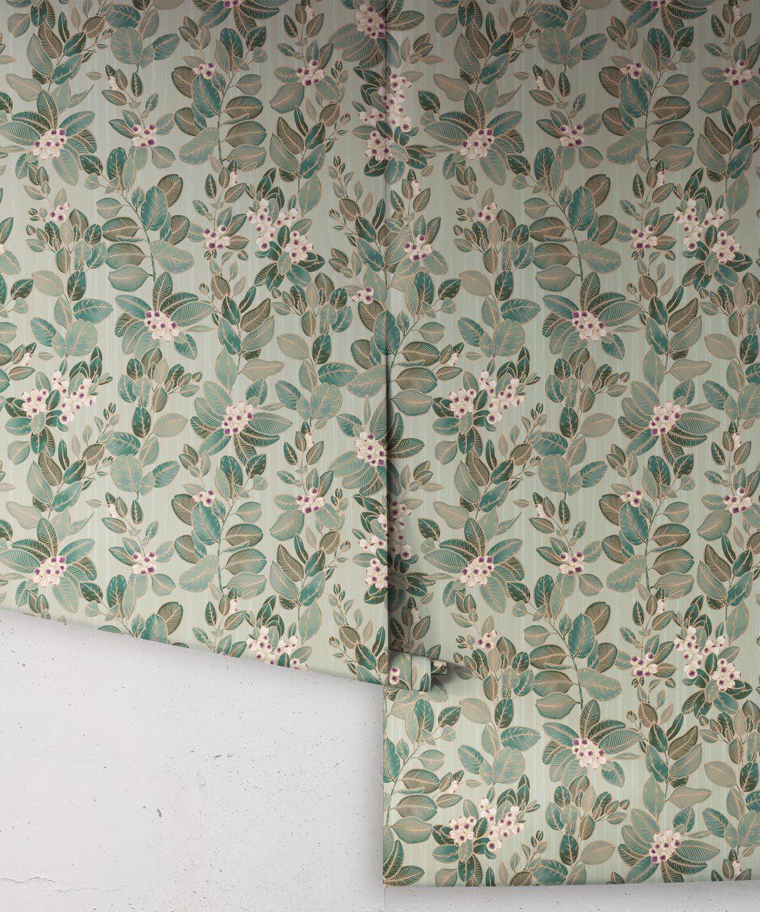 Eucalyptus Wallpaper • Eloise Short • Vintage Floral Wallpaper •Granny Chic Wallpaper • Grandmillennial Style Wallpaper •Pale Green •Rolls