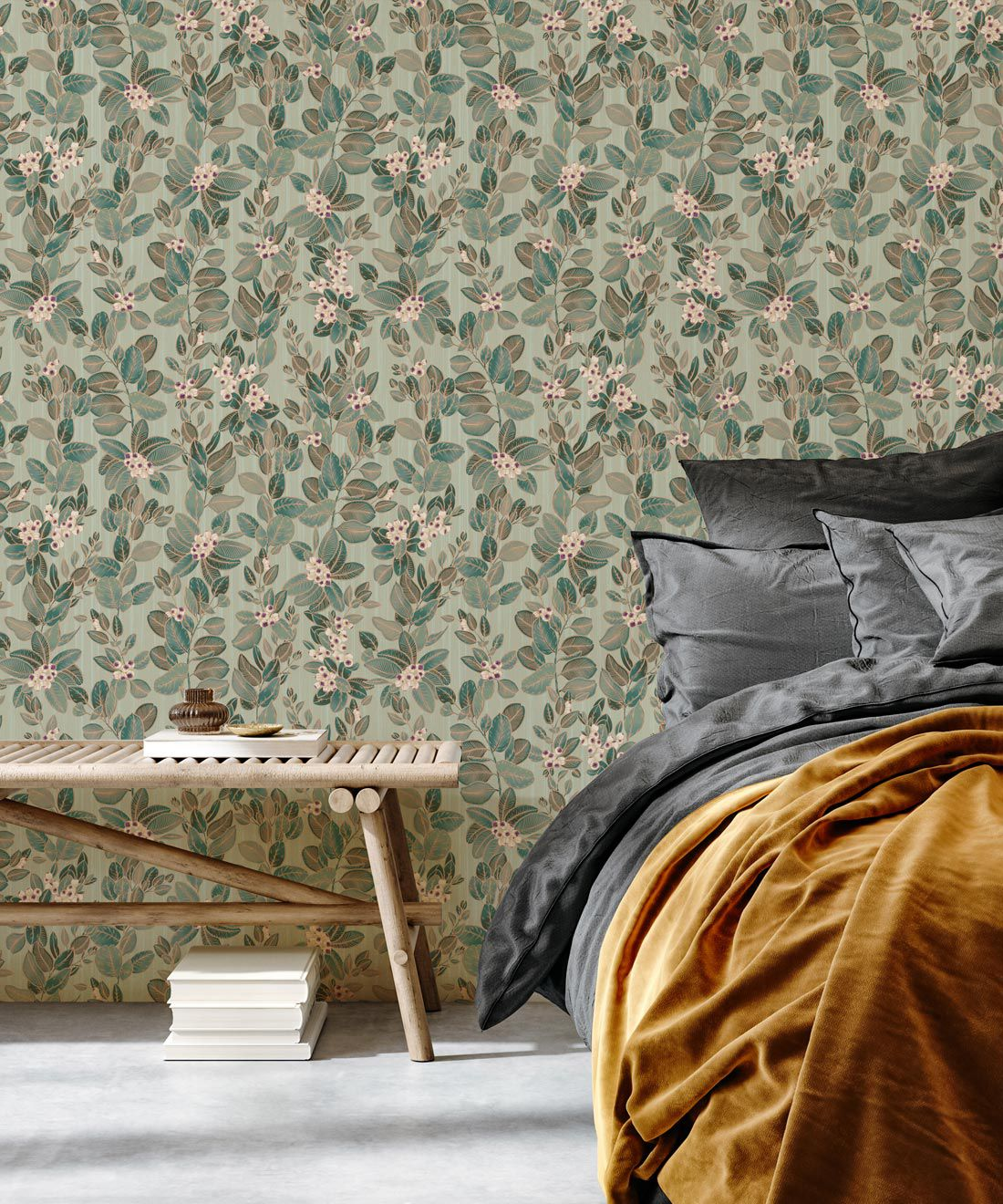 Eucalyptus Wallpaper • Eloise Short • Vintage Floral Wallpaper •Granny Chic Wallpaper • Grandmillennial Style Wallpaper •Pale Green •Insitu