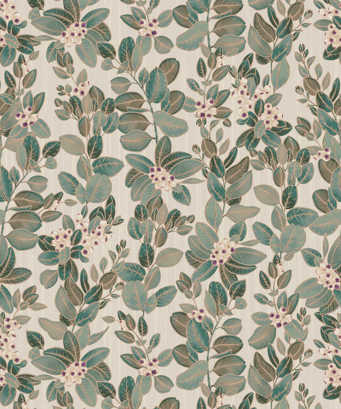 Eucalyptus Wallpaper • Eloise Short • Vintage Floral Wallpaper •Granny Chic Wallpaper • Grandmillennial Style Wallpaper •Pearl •Swatch
