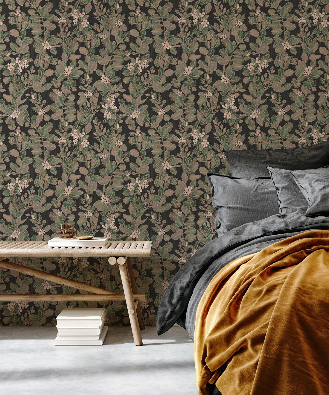 Eucalyptus Wallpaper • Eloise Short • Vintage Floral Wallpaper •Granny Chic Wallpaper • Grandmillennial Style Wallpaper •Pebble •Insitu