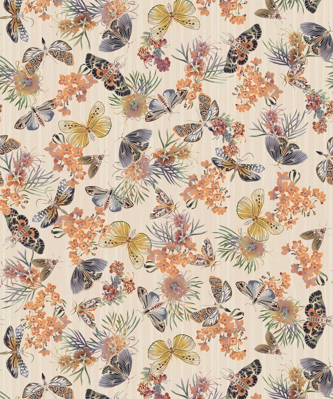 Moth Wallpaper • Eloise Short • Vintage Floral Wallpaper •Granny Chic Wallpaper • Grandmillennial Style Wallpaper •Ivory •Swatch