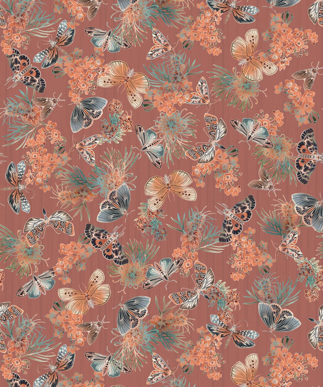 Moth Wallpaper • Eloise Short • Vintage Floral Wallpaper •Granny Chic Wallpaper • Grandmillennial Style Wallpaper •Rosewood •Swatch