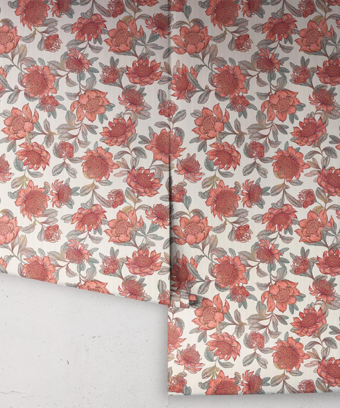 Waratah Wallpaper • Eloise Short • Vintage Floral Wallpaper •Granny Chic Wallpaper • Grandmillennial Style Wallpaper •Parchment •Rolls