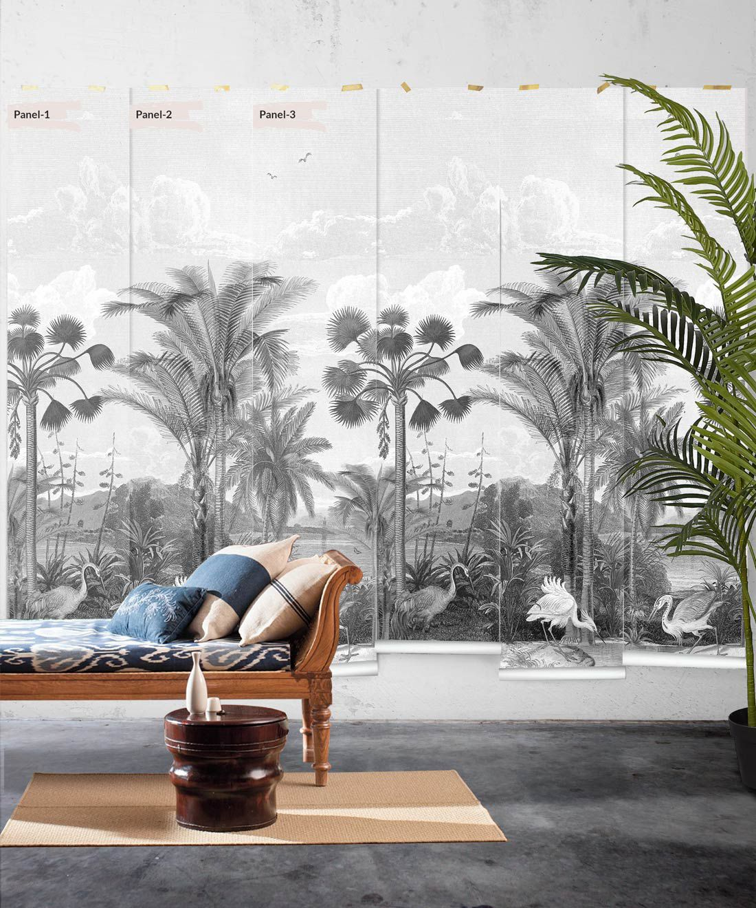 Indian Subcontinent Wallpaper Mural •Bethany Linz • Palm Tree Mural • Black & White • Panels