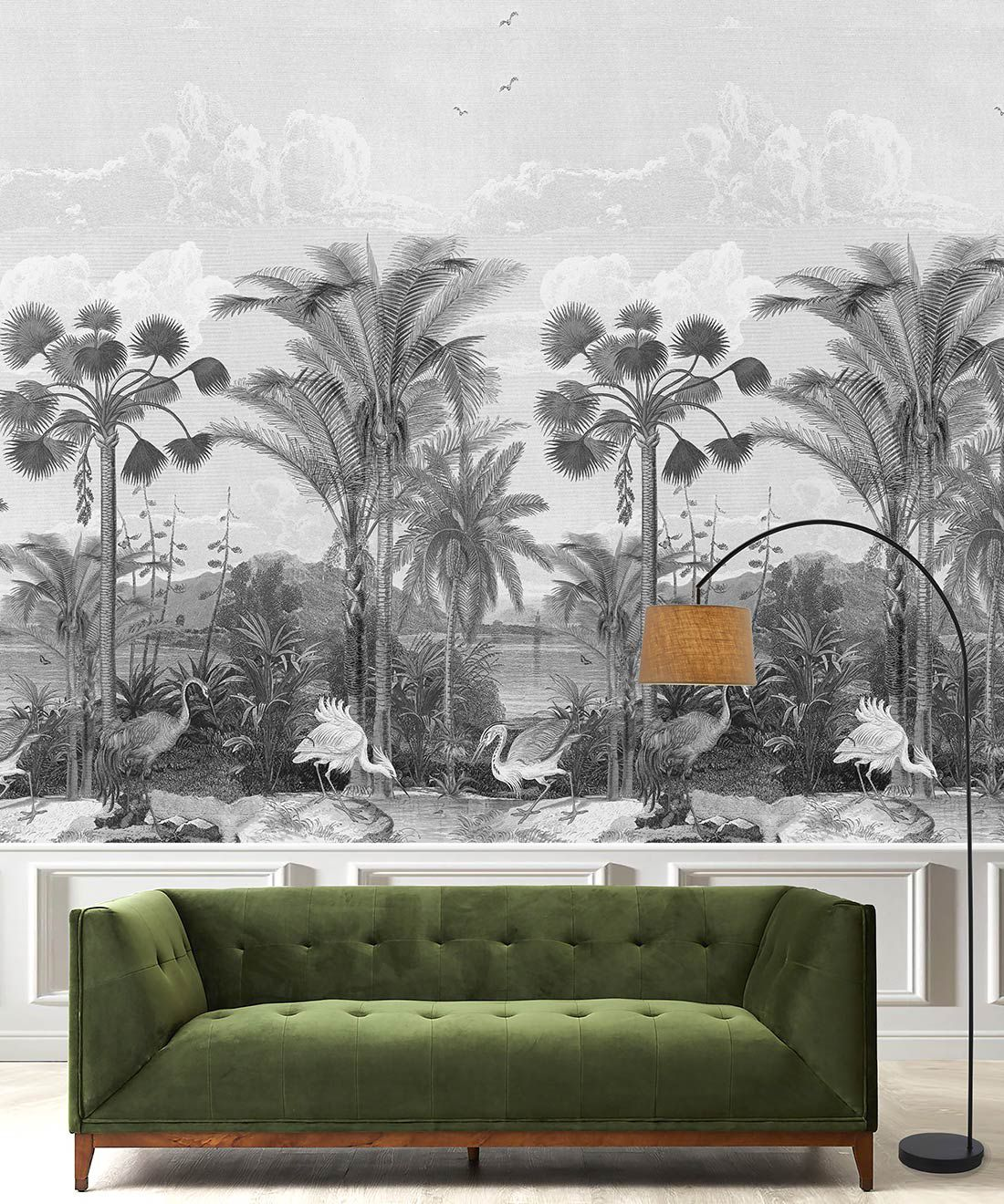 Indian Subcontinent Wallpaper Mural •Bethany Linz • Palm Tree Mural • Black & White • Insitu