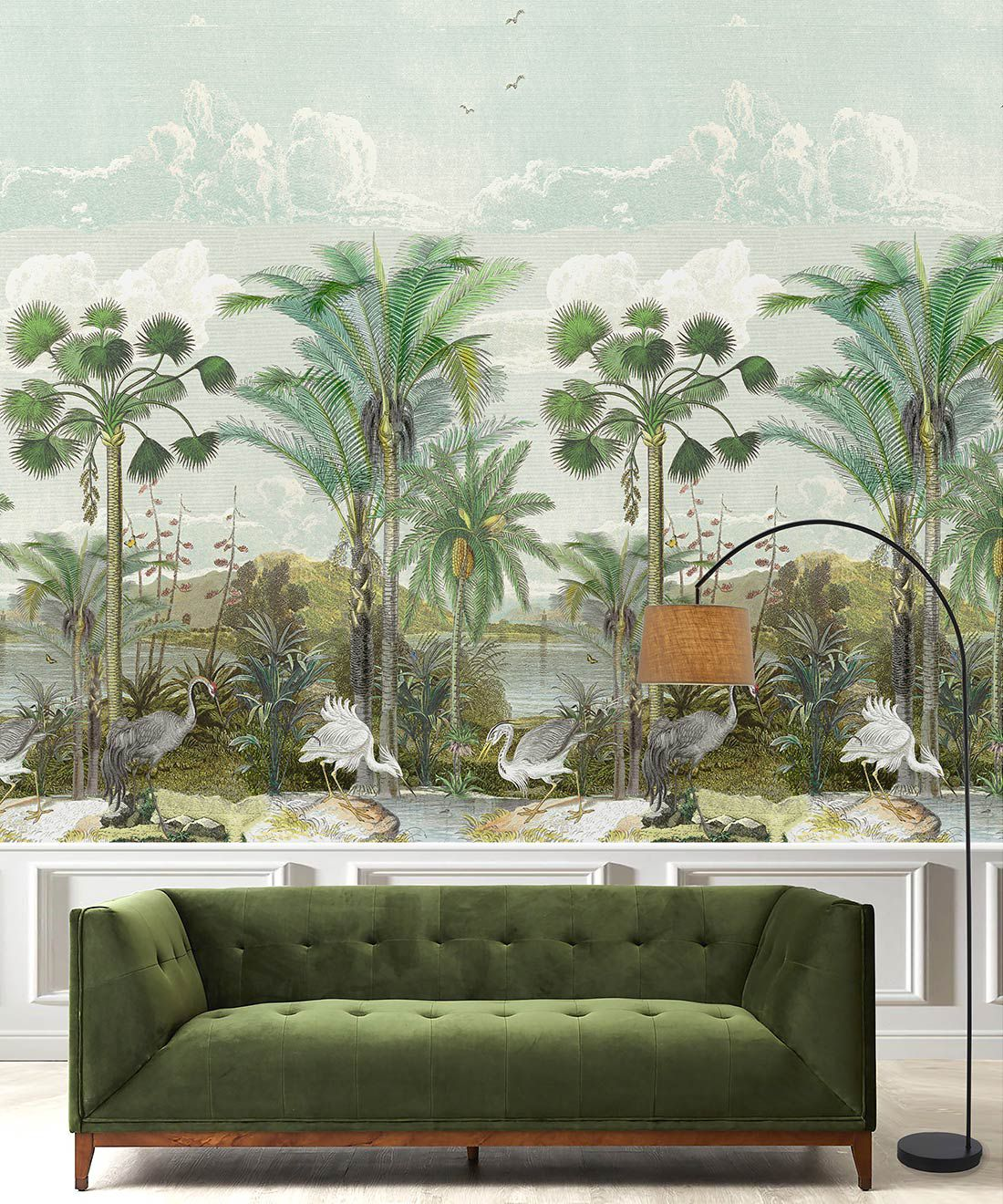 Indian Subcontinent Wallpaper Mural •Bethany Linz • Palm Tree Mural • Blue • Insitu