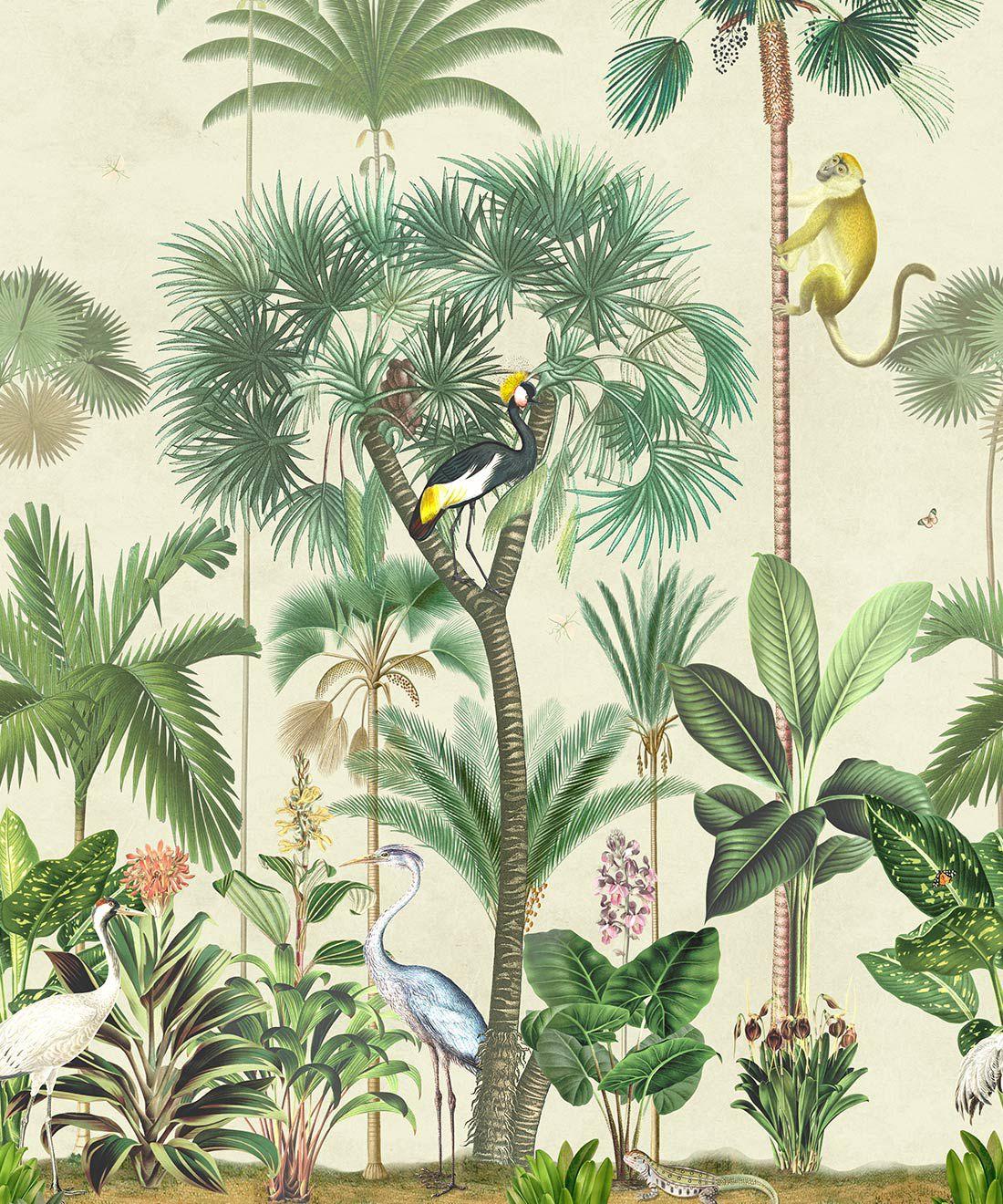 Indian Summer Wallpaper Mural •Bethany Linz • Palm Tree Mural • Beige • Swatch