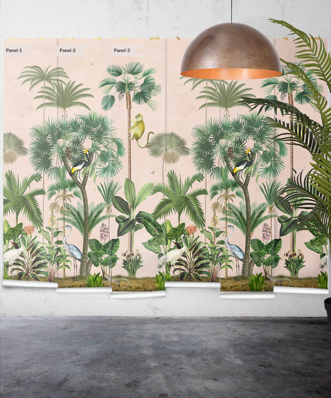 Indian Summer Wallpaper Mural •Bethany Linz • Palm Tree Mural • Pink • Panels