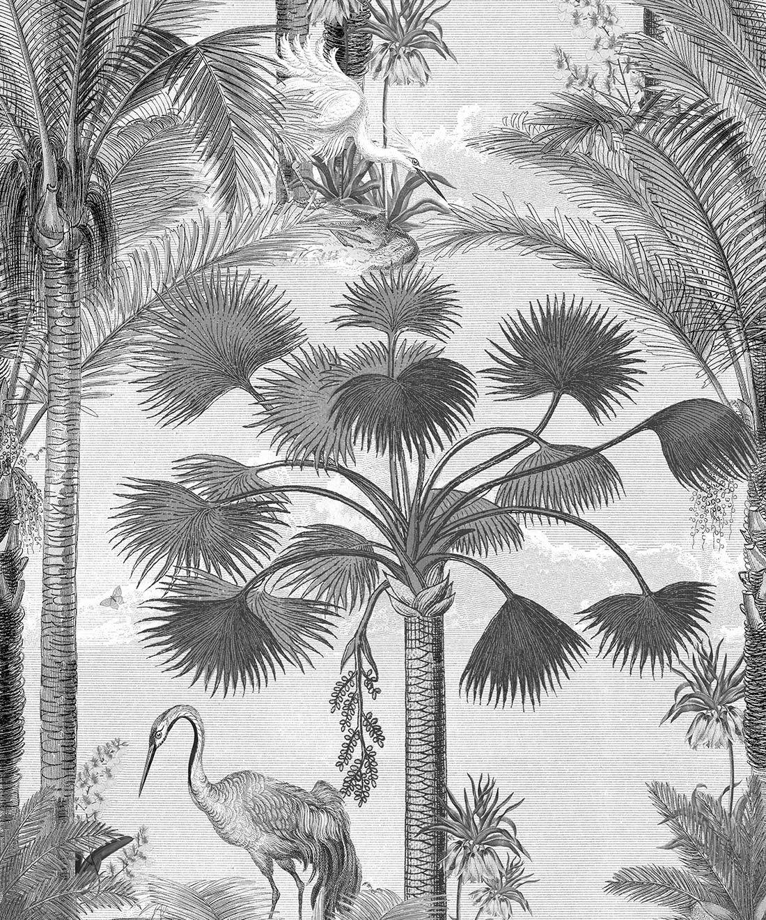 Kerala Palms Wallpaper Mural •Bethany Linz • Palm Tree Mural • Black & White • Swatch