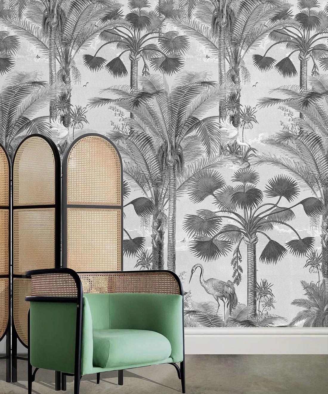 Kerala Palms Wallpaper Mural •Bethany Linz • Palm Tree Mural • Black & White • Insitu