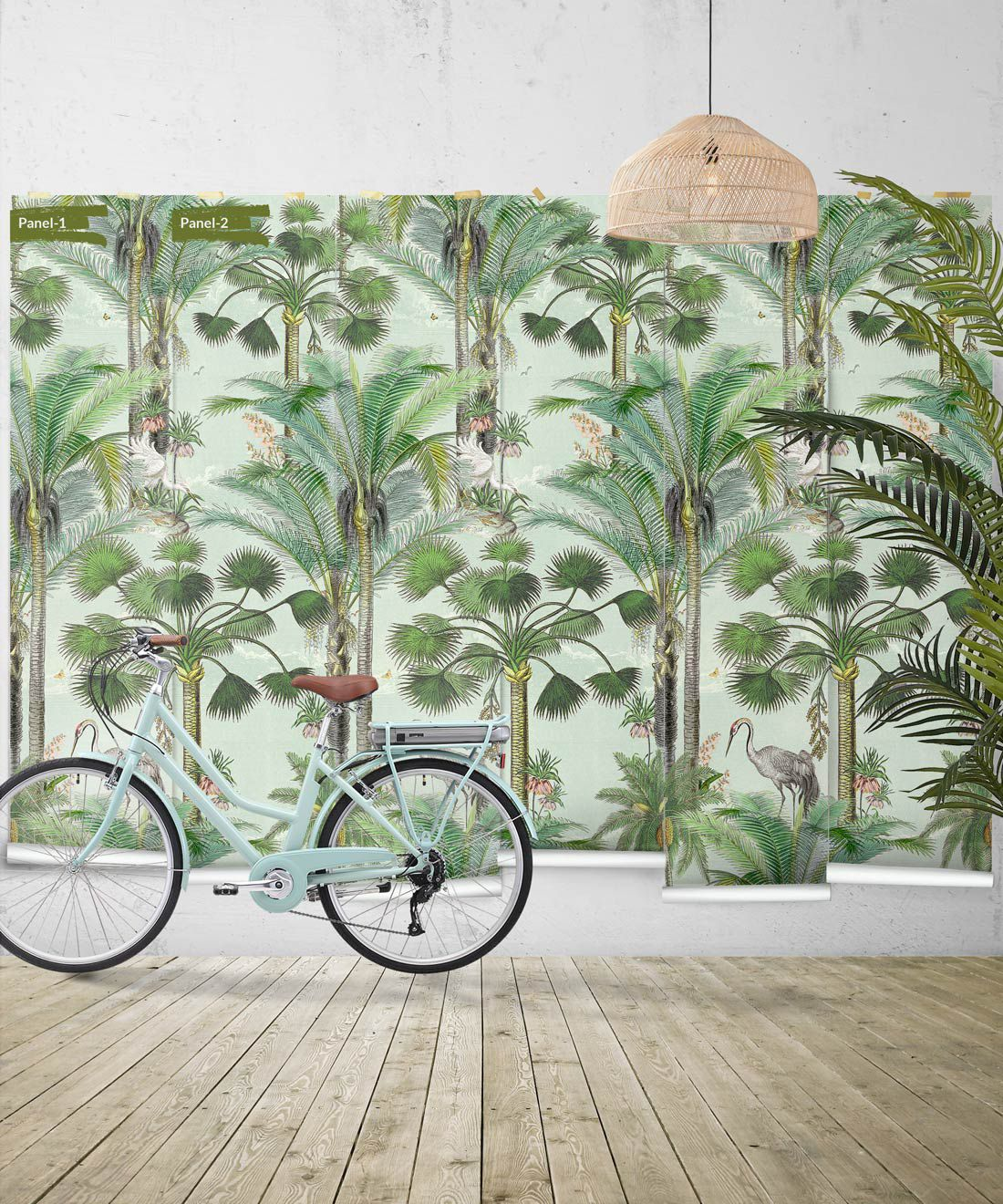 Kerala Palms Wallpaper Mural •Bethany Linz • Palm Tree Mural • Blue • Panels