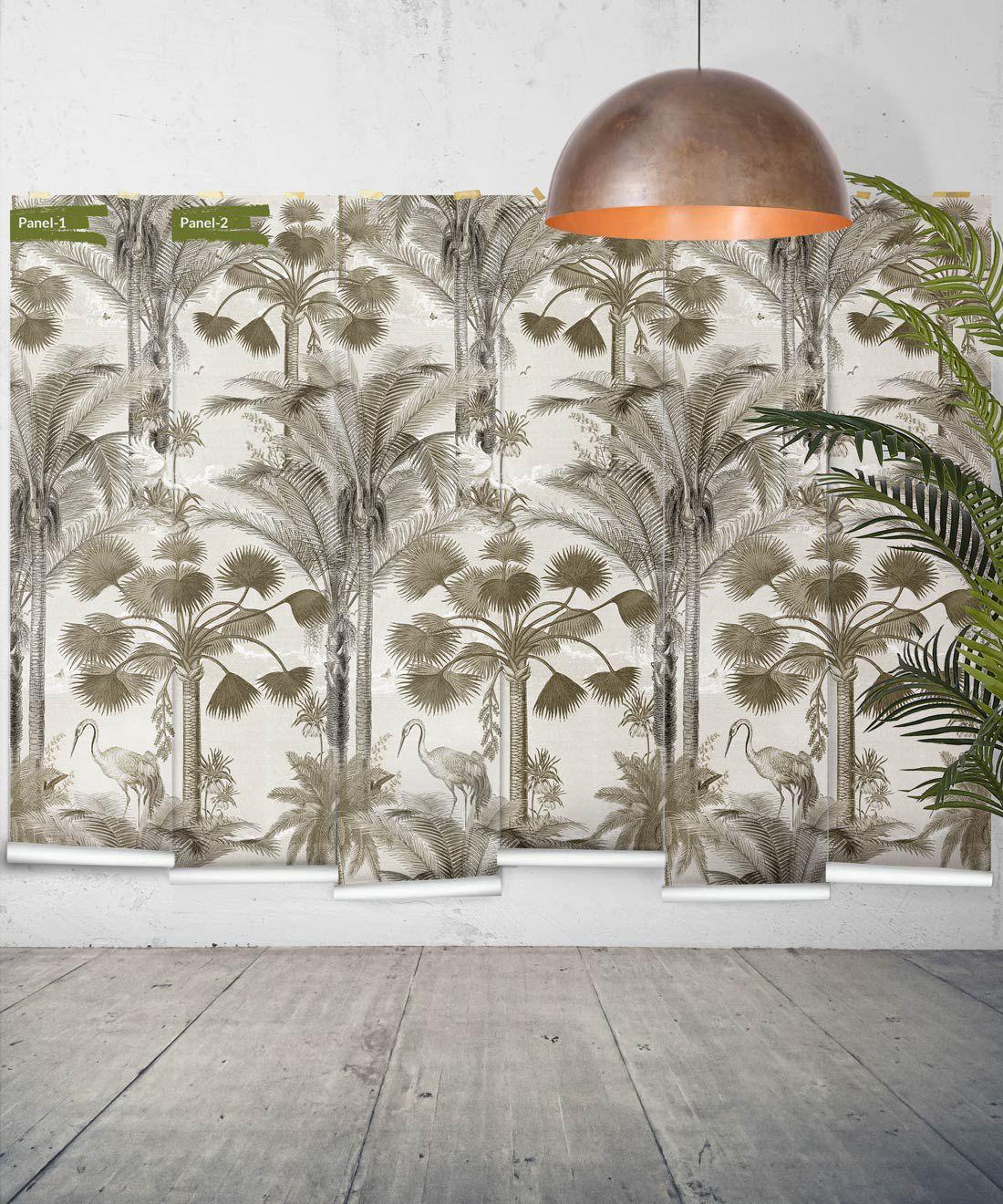 Kerala Palms Wallpaper Mural •Bethany Linz • Palm Tree Mural • Sepia • Panels