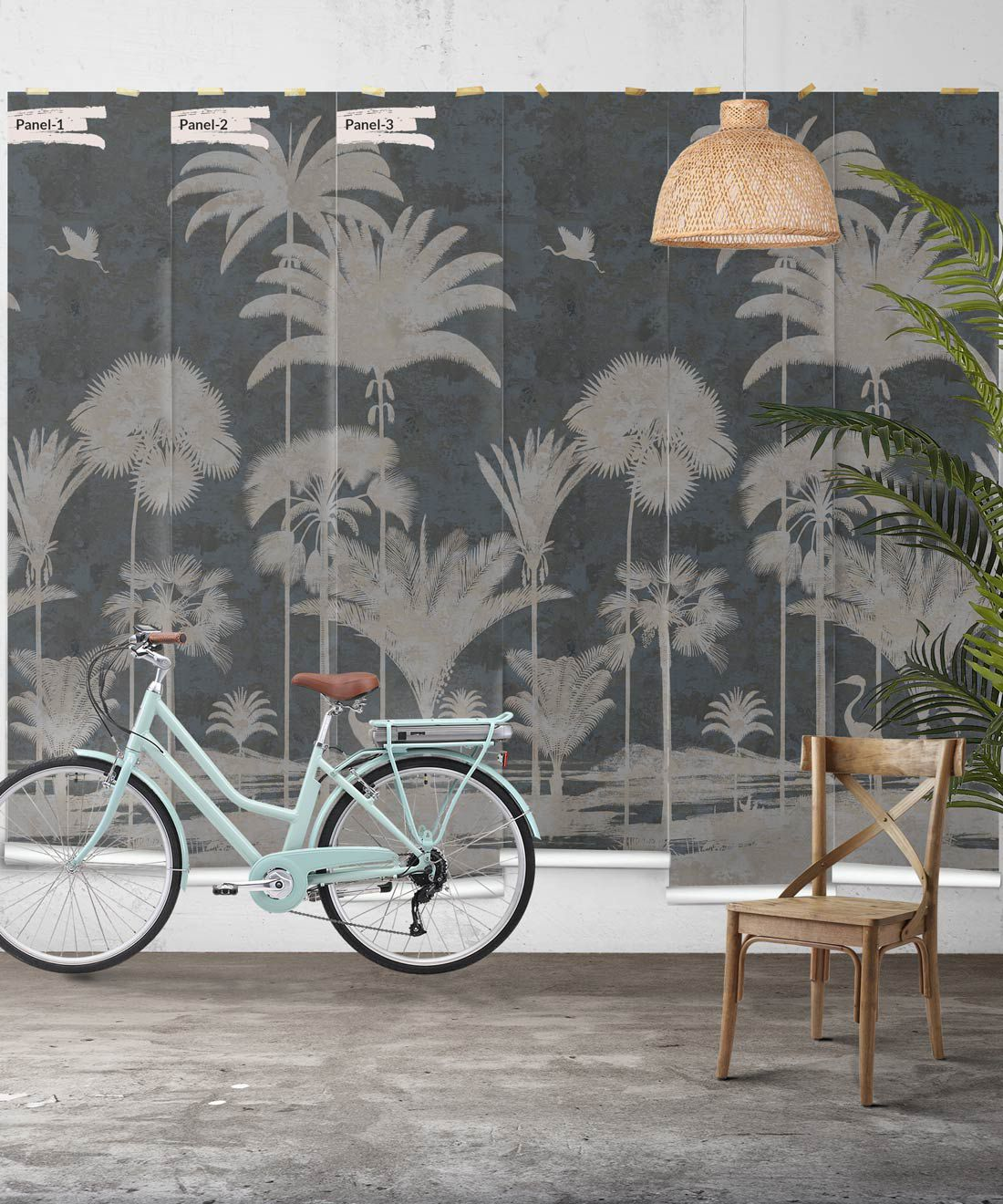 Shadow Palms Wallpaper Mural •Bethany Linz • Palm Tree Mural • Navy • Panels