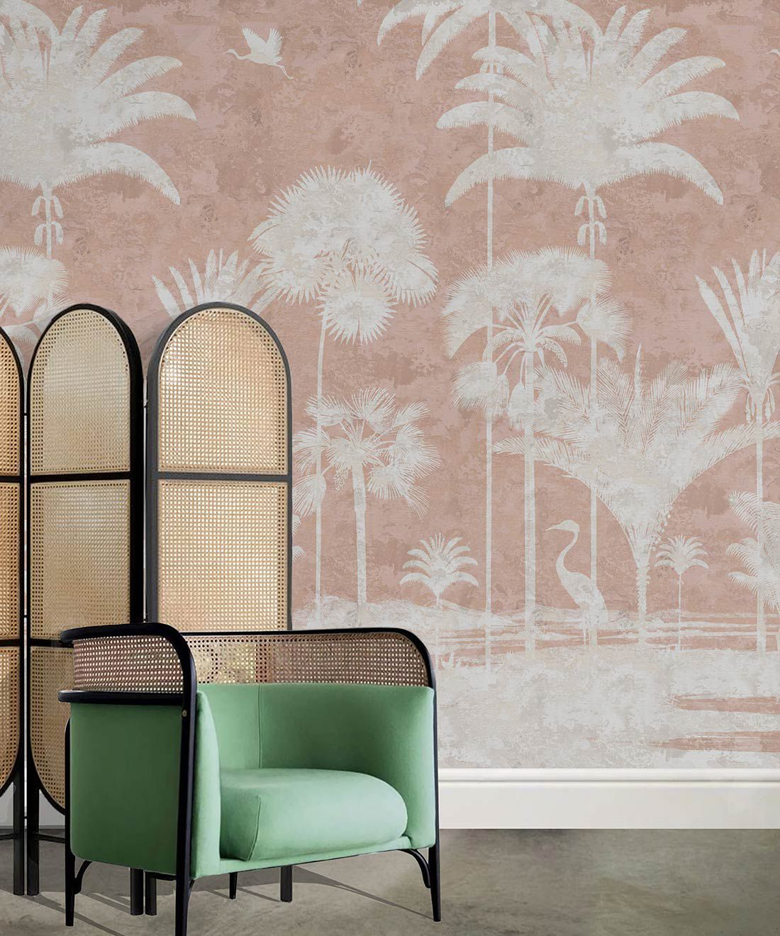 Shadow Palms Wallpaper Mural •Bethany Linz • Palm Tree Mural • Pink • Insitu